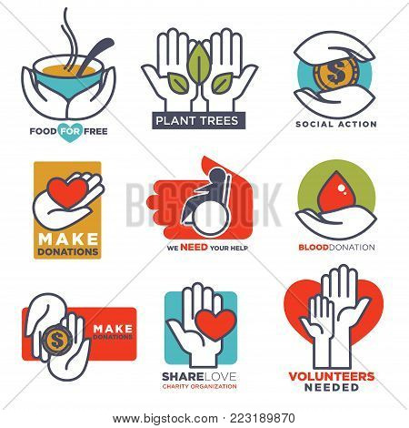Hand and heart logo templates vector icons for social charity, blood or donation or medical and volunteering support or care design. Isolated symbols of human hands, red heart and green leaf