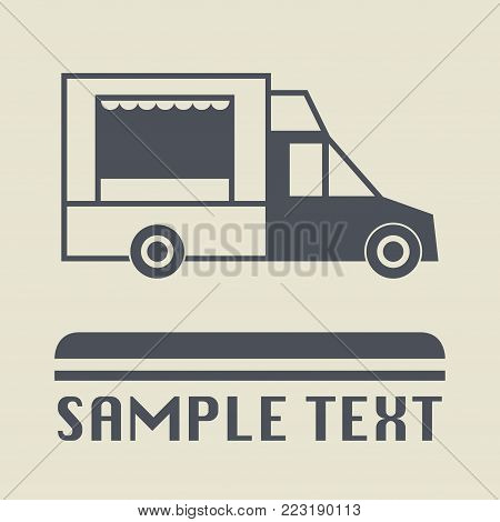 Street food truck icon or sign, vector illustration