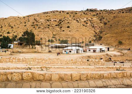 Petra, Jordan - December 21, 2017: Camp of bedouins in the ruins of the old city of Petra in Jordan