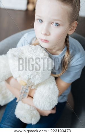 Loneliness. Unsmiling fair-haired little girl hugging and holding her teddy bear while sitting in the armchair