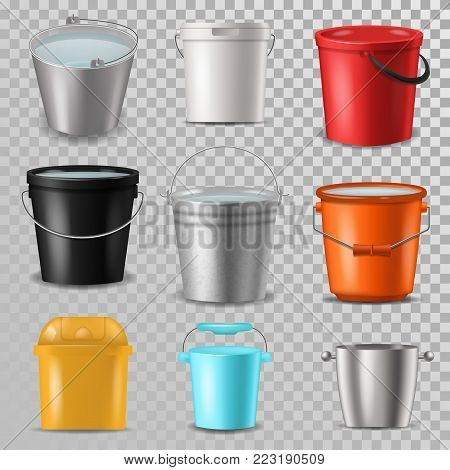 Bucket vector bucketful and bitbucket plastic pail empty or with water bucketing down in garden and garbagepail or pailful for gardening set illustration isolated on transparent background.
