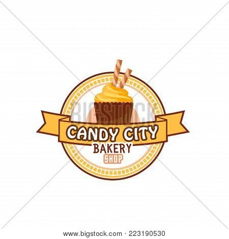 Candy shop or pastry patisserie icon of chocolate cupcake with caramel sticks for cafeteria or cafe menu. Vector design template of sweet cake dessert or pudding torte and biscuit pie for candyshop
