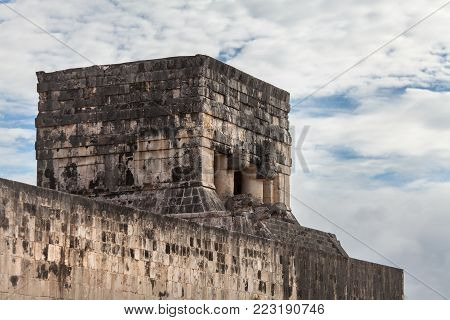 The Top of the Jaguar Temple at Chichen Itza. Mexico. Mayan ruins.