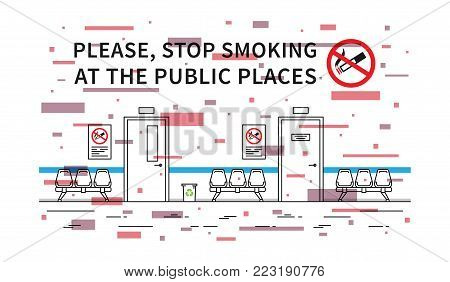 Bus stop no smoking vector illustration with colorful elements. Stop smoking sign at the public place line art concept.