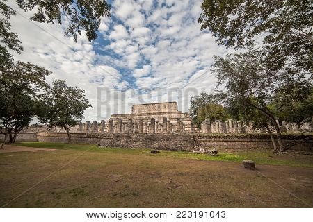 The Temple of Thousand Warriors in Chichen Itza, Mexico. Side view