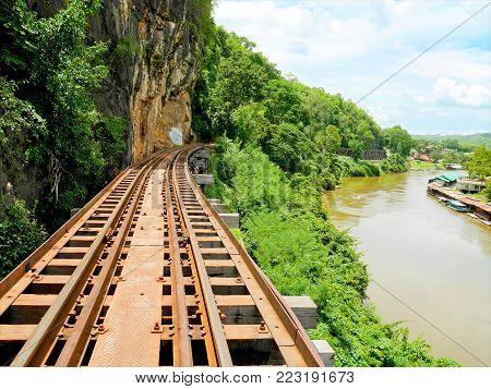 World war II historic railway, known as the Death Railway over Kwai Noi River in Kanchanaburi, Thailand