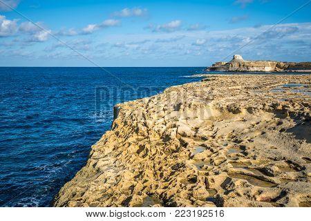 Salt evaporation ponds on Gozo island, Malta