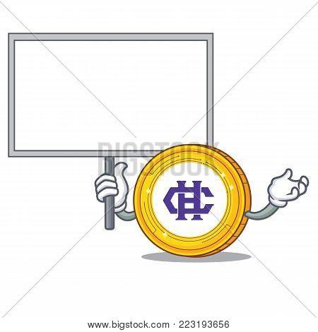 Bring board Hshare coin character cartoon vector illustration