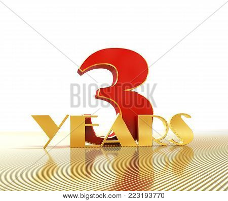 Golden number three (number 3) and the word