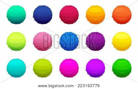 Furry colored balls. Vector pictures set. Furry color and fluffy bright sphere soft illustration