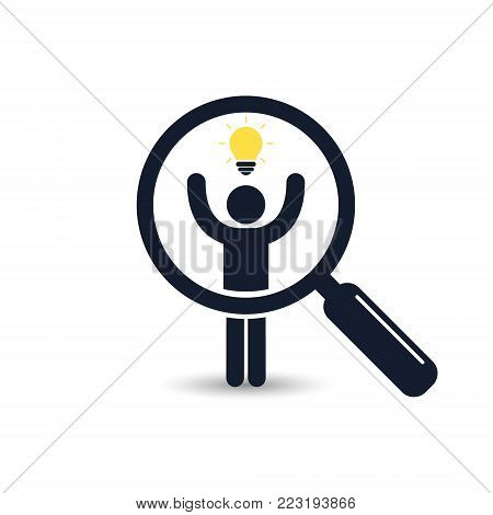 Search for talent with idea. Looking for employees and job, business, human resource. Search man vector icon. Job search.