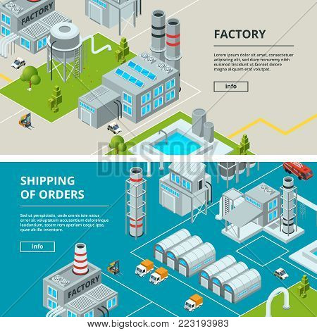 Horizontal banners with industrial buildings. Isometric factory. Factory isometric industry building, industrial, manufacture and storage illustration vector