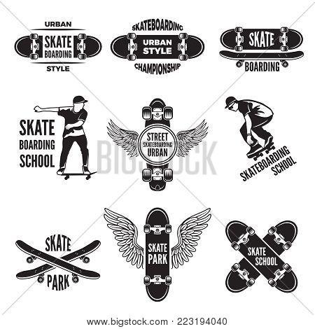 Monochrome labels of skaters. Pictures of skateboarding. Skateboard label, extreme board sport, vector illustration