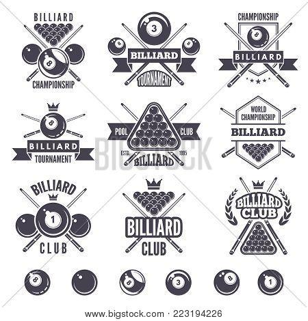 Logos set for billiard club. Billiard badge and emblem, game sport snooker illustration