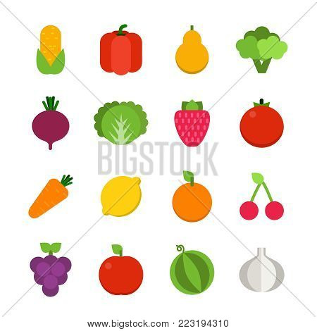Vector flat illustrations of vegetables and fruits. Colored fruit orange and organic vegetable