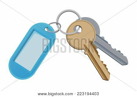 Key and keychain. Vector illustration isolate on white. Key for access door, safety and holder for key