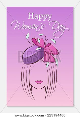 International Womens Day Greeting Card. Silhouette Of A Beautiful Girl In A Smart Hat With A Bow On