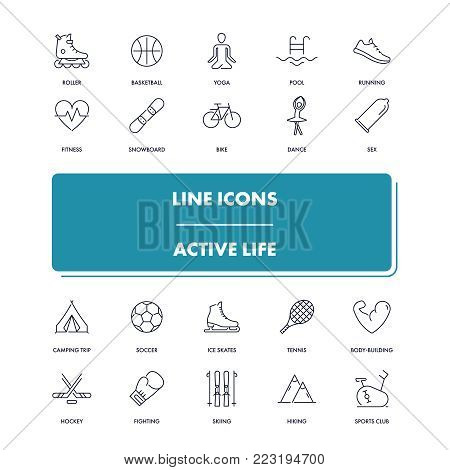 Line icons set. Active life pack. Vector illustration for activity and gym, health care and sport.