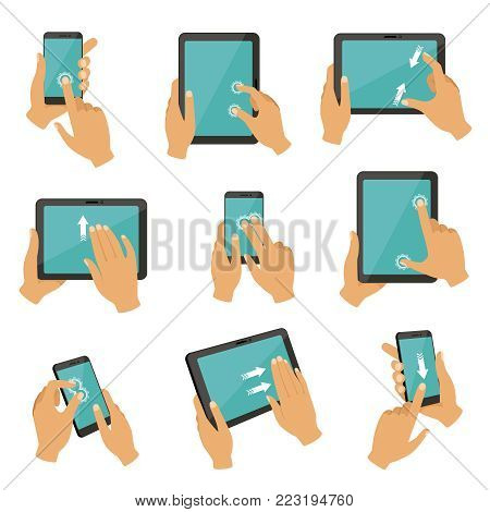 Illustrations of gestures to control different devices tablets and smartphones. Finger gesture touch tablet screen, multitouch collection vector