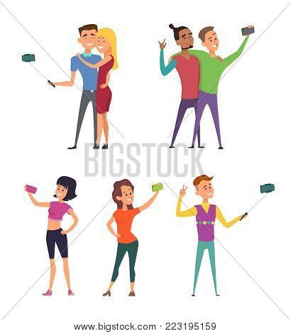 Funny characters male and female make selfie. Happy couples in cartoon style. Female and male, man and woman couple selfie mobile phone, vector illustration