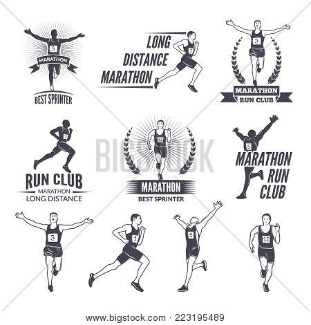 Sport labels at marathon theme for sport teams. Illustrations of athlete isolated. Sport marathon run badge, emblem or label vector