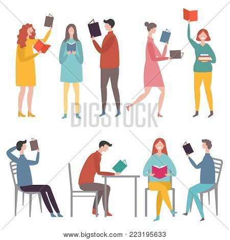 Male and female characters standing and sitting and reading books. Man and woman reading and learning. Vector illustration