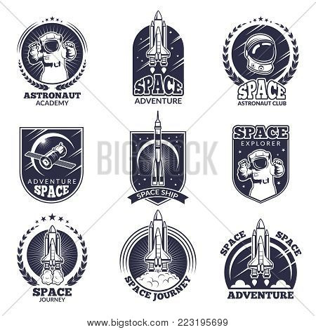 Monochrome labels for astronauts. Vector badges templates with place for your text. Astronaut exploration, spaceship and cosmonaut illustration