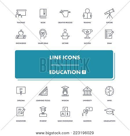 Line icons set. Education 1 pack. Vector illustration for studying, learning, teaching, Wisdom and knowledge.