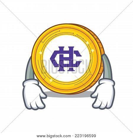Tired Hshare coin mascot cartoon vector illustration