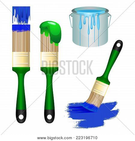 Thick brushes and metal bucket full of light paint set. Equipment for room redecoration isolated cartoon flat vector illustrations on white background.