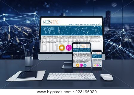 Responsive website displayed on different devices, laptop, computer and smartphone. 3D Rendering