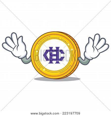Mocking Hshare coin mascot cartoon vector illustration