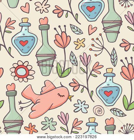 Cute doodle style seamless pattern with love potions, birds and flowers on light background, vector illustration. Birds, flowers and love potions doodle seamless pattern, background, textile design
