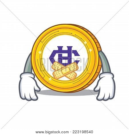Silent Hshare coin mascot cartoon vector illustration