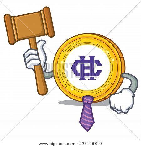 Judge Hshare coin mascot cartoon vector illustration