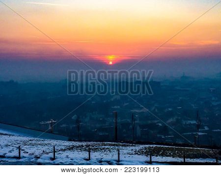 winter sunset from the highest hill, Ciuperca Hill, of Oradea