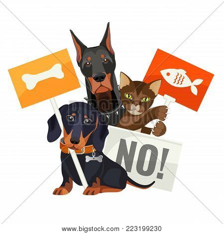 No bullying of animals, protesting cats and dogs with boards wanting to have meal and home, vector illustration with domestic pets needed protection and care