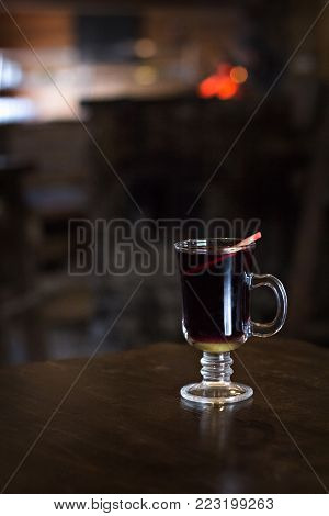 Mulled Wine In A Beautiful Glass. Winter Warming Drink.