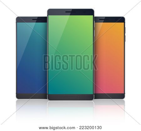 Three-piece outfit mobile devices collection on the white background with modern identic cellphones but with blue, green and orange colored digital blanks touchscreens vector illustration