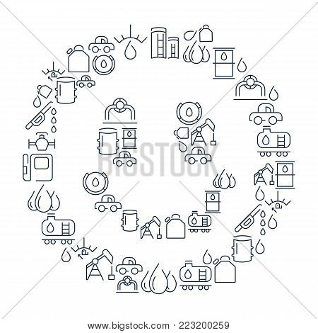 Chemical lined icons collection with gas station and petroleum elements in smile shape isolated vector illustration