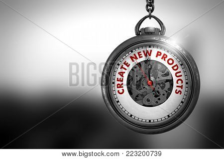 Business Concept: Vintage Pocket Clock with Create New Products - Red Text on it Face. Create New Products on Pocket Watch Face with Close View of Watch Mechanism. Business Concept. 3D Rendering.