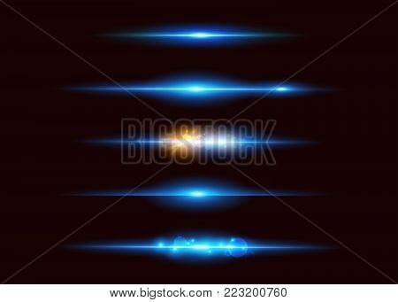 Set of Vector Neon Light Effects. Abstract Glowing Blue Line. UI Design Element. Transparent Lens Flare Effect. Futuristic Vibrant Glow for Game Design, Banner, Poster, Button.