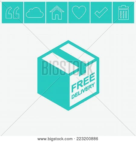 Free shipping vector icon. Free delivery sign on package box.