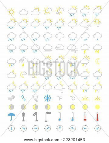 weather icons set, forecasts editable icons, weather symbols