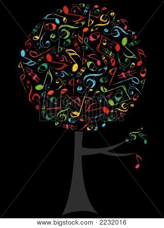 Pop Color Musical Notes Circle Tree On Black (Vector)