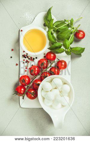 Caprese salad ingredients. Italian salad. Mediterranean salad. Italian cuisine. Mediterranean cuisine. Tomato mozzarella basil leaves and olive oil over concrete background