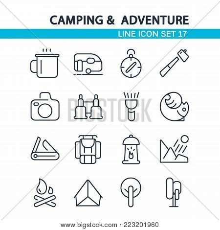 Camping and adventure line icon set with sixteen objects such as binocular, compass, tent hand drawing vector illustration