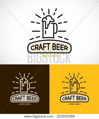 Line graphics monogram template with logos of craft beer, emblems for beer house, bar, pub, brewing company, brewery, tavern vector illustration
