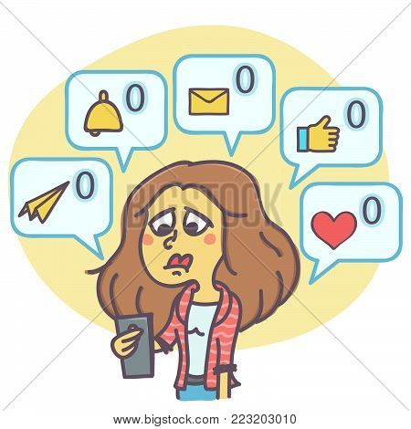 Funny cartoon of sad woman not getting any comments and messages on mail or social network profile, vector illustration