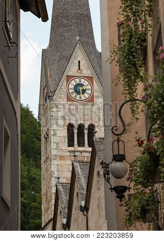 Ancient stone church in Hallstatt, Salzkammergut, Austria